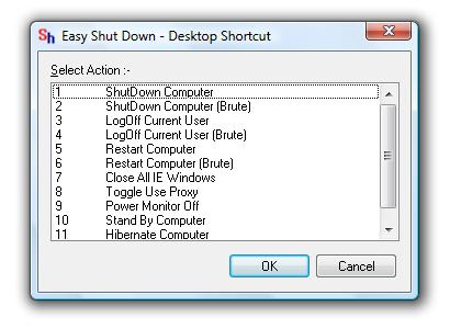 Easy ShutDown Create Desktop Shortcut