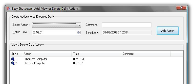 Screenshot displaying actions added to Hibernate and Resume Computer