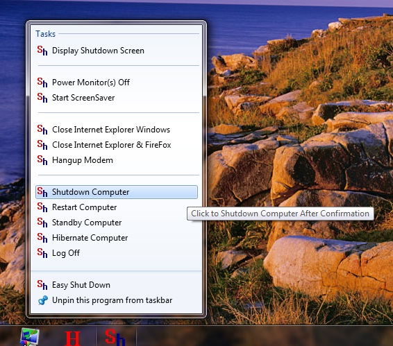 Screenshot of Easy ShutDown's JumpList on Windows 7